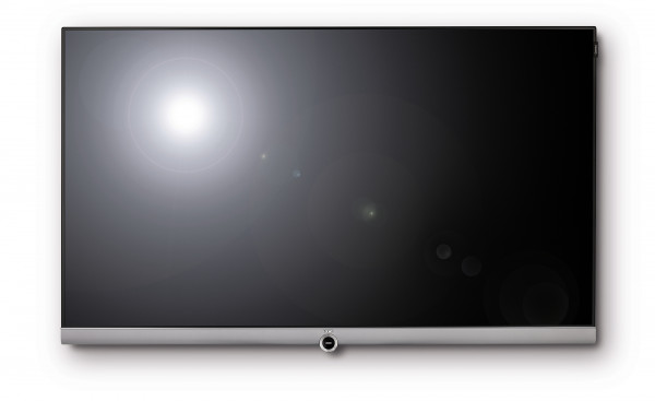 Loewe Connect 55 Inch UHD DR+ TV with Table Stand in Black and Silver front view